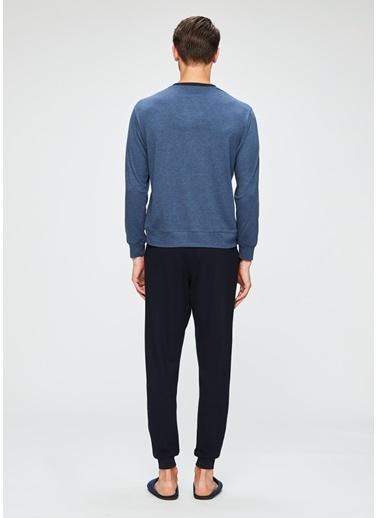 Dagi O Patlı Uzun Kollu Pijama Takımı Mavi